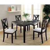Gracie Oaks Boswick 5 - Piece Solid Wood Dining Set Wood/Upholstered Chairs in Black/Brown, Size 30.0 H in | Wayfair