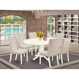 East West Furniture Butterfly Leaf Rubberwood Solid Wood Dining Set Wood/Upholstered Chairs in Brown/White, Size 30.0 H in | Wayfair AVFL7-LWH-01