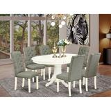 East West Furniture Butterfly Leaf Rubberwood Solid Wood Dining Set Wood/Upholstered Chairs in Brown/Gray/White, Size 30.0 H in | Wayfair