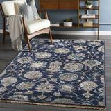 Surya Hesston Floral Hand-Knotted Navy/Taupe Area RugViscose in White, Size 36.0 H x 24.0 W in | Wayfair THO3007-23