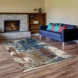 17 Stories Elmdale Indoor/Outdoor Area Rug Polypropylene in Blue/Brown, Size 84.0 H x 60.0 W x 0.5 D in | Wayfair 57D1681905354AAE8F23C767E48393FD