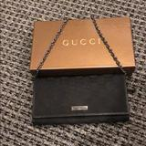 Gucci Bags | Gucci Chain Wallet | Color: Black | Size: 7.5 Inches Long 4 Inches High