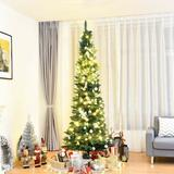 The Holiday Aisle® Slim Pencil 7' Fir Artificial Christmas Tree in Green, Size 84.0 H x 30.0 W x 1.0 D in | Wayfair