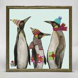 The Holiday Aisle® Penguins by Eli Halpin - Picture Frame Painting Print on Canvas Canvas & Fabric in Blue/Gray/Green | Wayfair