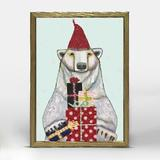 The Holiday Aisle® Polar Bear by Eli Halpin - Picture Frame Painting Print on Canvas Canvas & Fabric in Blue/Red/White | Wayfair