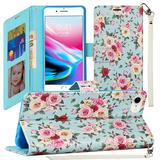 Rose Bouquet Design Fashion Phone Wallet Case with Card Slots and Strap, Light Blue For iPhone 7