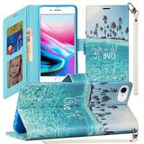 Life is Short Design Fashion Phone Wallet Case with Card Slots and Strap, Blue For iPhone 7