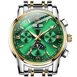 Green Mechanical Watches for Men No Battery OLEVS Swiss Mens Automatic Watches Date Waterproof Self Winding Watch Man Expensive Moon Phase Male Wristwatch Stainless Steel Diver Reloje Hombre Calendar