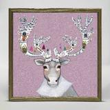 The Holiday Aisle® Gingerbread Caribou by Eli Halpin - Picture Frame Painting Print on Canvas Canvas & Fabric in Gray/Pink | Wayfair