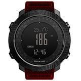 NORTH EDGE Men's Sport Digital Watch Multifunctional Smart Watch Hours Running Swimming Military Army Watches Altimeter Barometer Compass Waterproof 50m (Black&red)