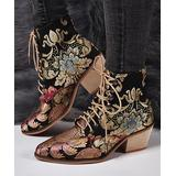 YASIRUN Women's Casual boots Golden - Black & Gold Floral Pointed-Toe Boot - Women