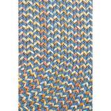 Super Area Rugs Confetti Braided Rug Traditional Rug, Marina Blue, 2' X 3' Oval