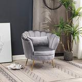 Modern Velvet Barrel Chair Accent Club Chair Retro Upholstered Bedroom Chair Tufted Leisure Curved Tufted Back Armchair with Pillow - Grey