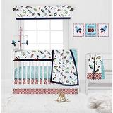 Bacati Space Aqua/Red/Navy/Lime Boys 10-Piece Nursery in a Bag Baby Boy Nursery Crib Bedding Set with Long Crib Rail Guard for US Standard Crib 100 Percent Cotton