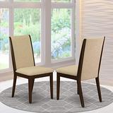 East West Furniture Lancy Parson Chair, Standard Height, Light Tan Linen Fabric