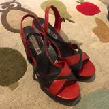 American Eagle Outfitters Shoes | Cute High Heel Sandals, Super Comfy. | Color: Brown/Red | Size: 9.5