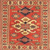 Bungalow Rose Eugen Oriental Red/Beige/Blue Area Rug Polyester/Wool in Blue/Red/White, Size 72.0 H x 72.0 W x 0.35 D in | Wayfair
