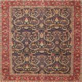 Astoria Grand Abana Oriental Red/Navy/Beige Area Rug Polyester/Wool in Blue/Red/White, Size 96.0 H x 96.0 W x 0.35 D in   Wayfair