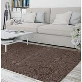 Dakota Fields Amabella Southwestern Chocolate/Brown Area Rug Polyester in White, Size 60.0 H x 36.0 W x 0.08 D in | Wayfair