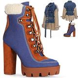 Womens Boots for Women Ankle Boots High Heel Fall Boots for Women Winter Platform Boots with Heel Lace up Booties Women Heeled Ankle Boots for Women Dark Blue Denim Boots for Women