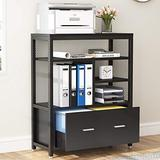 Tribesigns Wood Lateral File Cabinet with Drawer for Letter Size, Large Modern Filing Cabinet Printer Stand with Metal Wire Open Storage Shelves for Home Office (Black)