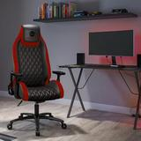 Atlantic Dardashti Ergonomic Gaming Chair Faux Leather/Upholstered in Red/Black, Size 54.5 H x 27.38 W x 27.38 D in | Wayfair 78050357