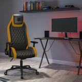 Atlantic Dardashti Ergonomic Gaming Chair Faux Leather/Upholstered in Black/Yellow, Size 54.5 H x 27.38 W x 27.38 D in | Wayfair 78050358