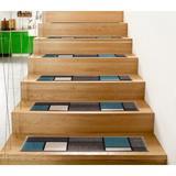 Orren Ellis Contemporary Modern Boxes Non-Slip Stair Tread Synthetic Fiber in Blue, Size 0.2 H x 8.6 W in | Wayfair