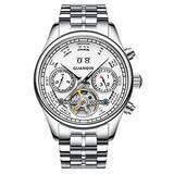 Male Full Steel Waterproof Wristwatch New Fashion Luxury Brand Watch Men Automatic Mechanical Tourbillon Luminous Wristwatch (Silver White)