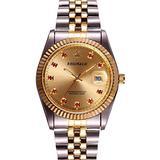 Luxury Unisex Quartz Gold Watch Red Crystal Calendar Gold Tone Stainless Steel Watch