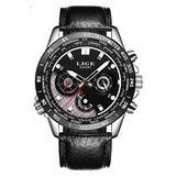 Fashion Sport Men Quartz Watches Military Full Steel Business Waterproof Wristwatch (Black Dial Black Leather)