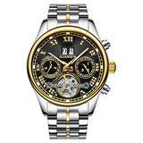 Male Full Steel Waterproof Wristwatch New Fashion Luxury Brand Watch Men Automatic Mechanical Tourbillon Luminous Wristwatch (Silver Gold Black)