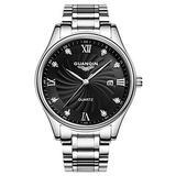 Men Luxury Big Dial Diamond Quartz Watches Waterproof Luxury Watches Fashion Steel Men Clock (Silver Black)