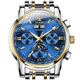OLEVS Self Wind Watches for Men Automatic Blue Dial Mechanical Watch Mens Calendar Large Swiss Men's Wrist Watch No Battery Waterproof Moon Phase Watch Man Two Tone Stainless Steel Reloj para Hombre