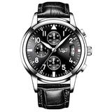 Business Mens Watches Fashion Luxury Top Brand Quartz Military Sports Waterproof Leather Watch (Black Dial Black Leather)