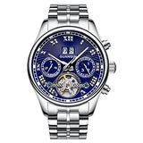 Male Full Steel Waterproof Wristwatch New Fashion Luxury Brand Watch Men Automatic Mechanical Tourbillon Luminous Wristwatch (Silver Blue)