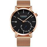 Men Watch Stainless Steel Mesh Strap Fashion Watch Luxury Brand Waterproof Sport Watches for Men (Rose Gold Black-SM)