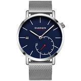 Men Watch Stainless Steel Mesh Strap Fashion Watch Luxury Brand Waterproof Sport Watches for Men (Silver Blue-SM)