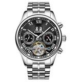 Male Full Steel Waterproof Wristwatch New Fashion Luxury Brand Watch Men Automatic Mechanical Tourbillon Luminous Wristwatch (Silver Black)