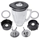 Replacement Parts Compatible with Oster Blender, 6 Cup Glass Blender Replacement Jar with Lid, 4961 4-Point Ice Blade, 4902 Bottom Cap and Rubber Gasket Compatible with Oster & Osterizer