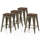 """VIPEK 24 inches Metal Bar Stool Counter Height Barstools with Elm Solid Wood Seat Set of 4 Backless Stackable 24"""" Seat Height Dining Chair for Patio Bar Chair Bistro Cafe Kitchen, Gun Metal Color"""