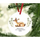 The Holiday Aisle® Baby's First Christmas, Baby Dear Ball Ornament Metal in Brown/Green, Size 3.5 H x 3.5 W in   Wayfair