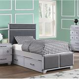 Longshore Tides Louviere Platform Platform Bed Wood & Upholstered/Upholstered/Faux leather in Brown/Gray, Size 42.0 W x 81.0 D in   Wayfair