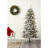 Nearly Natural Green 6 Foot Flocked Livingston Fir Artificial Christmas Tree with Pine Cones and 300 Clear Warm LED Lights