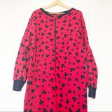 Disney Intimates & Sleepwear | Disney Mickey Mouse Red & Black Mickey Footed Pjs | Color: Black/Red | Size: L