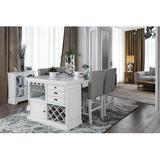 Dining Set - Charlton Home® Rearick 5 - Piece Counter Height Dining Set, Wood/Upholstered Chairs/Solid Wood, White, Small