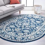 Shiloh Dark Blue 5x8 Oval Area Rug for Living, Bedroom, or Dining Room - Traditional, Floral