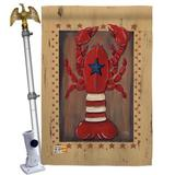 Breeze Decor Patriotic Lobster 2-Sided Polyester 40 x 28 in. Flag Set in Brown/Red, Size 40.0 H x 28.0 W x 4.0 D in   Wayfair
