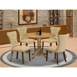 Alcott Hill® Seibold Drop Leaf Rubberwood Solid Wood Dining Set Wood/Upholstered Chairs in Brown, Size 29.5 H in   Wayfair