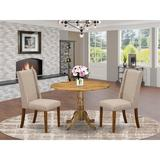 Charlton Home® Utgard Drop Leaf Rubberwood Solid Wood Dining SetWood/Upholstered Chairs in Brown, Size 29.5 H in   Wayfair